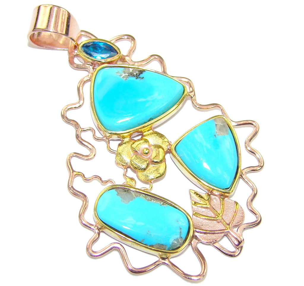 Sleeping Beauty AAA Blue Turquoise Rose  Gold Plated Sterling Silver Pendant