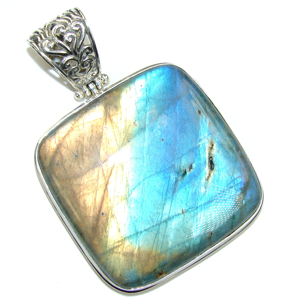 A Spell of Intuition AAA Blue Fire Labradorite Sterling Silver Pendant