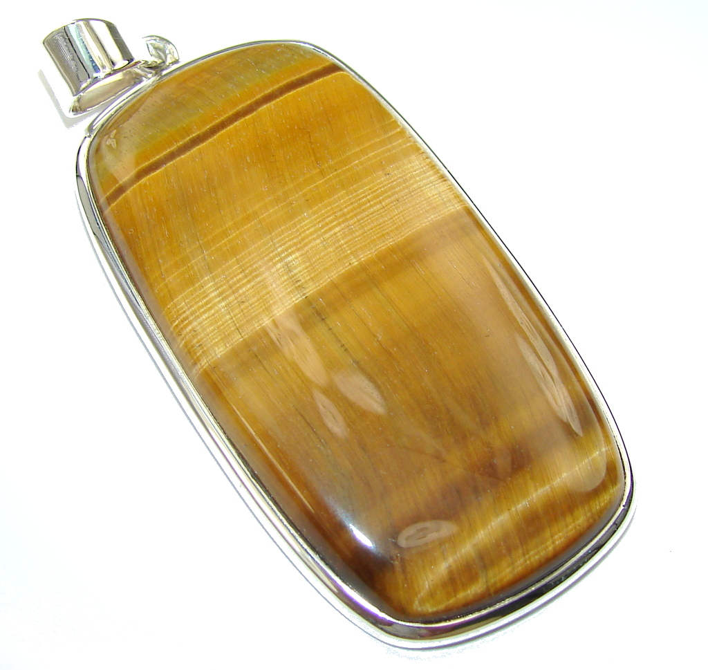 Amazing AAA Golden Tigers Eye Sterling Silver Pendant