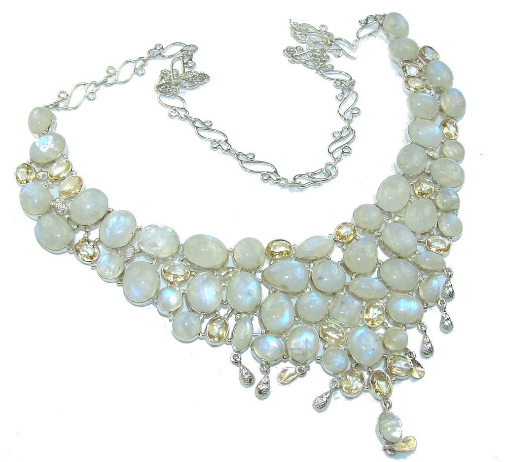 Heavenly Love! AAA White Fire Moonstone & Citrine Sterling Silver necklace