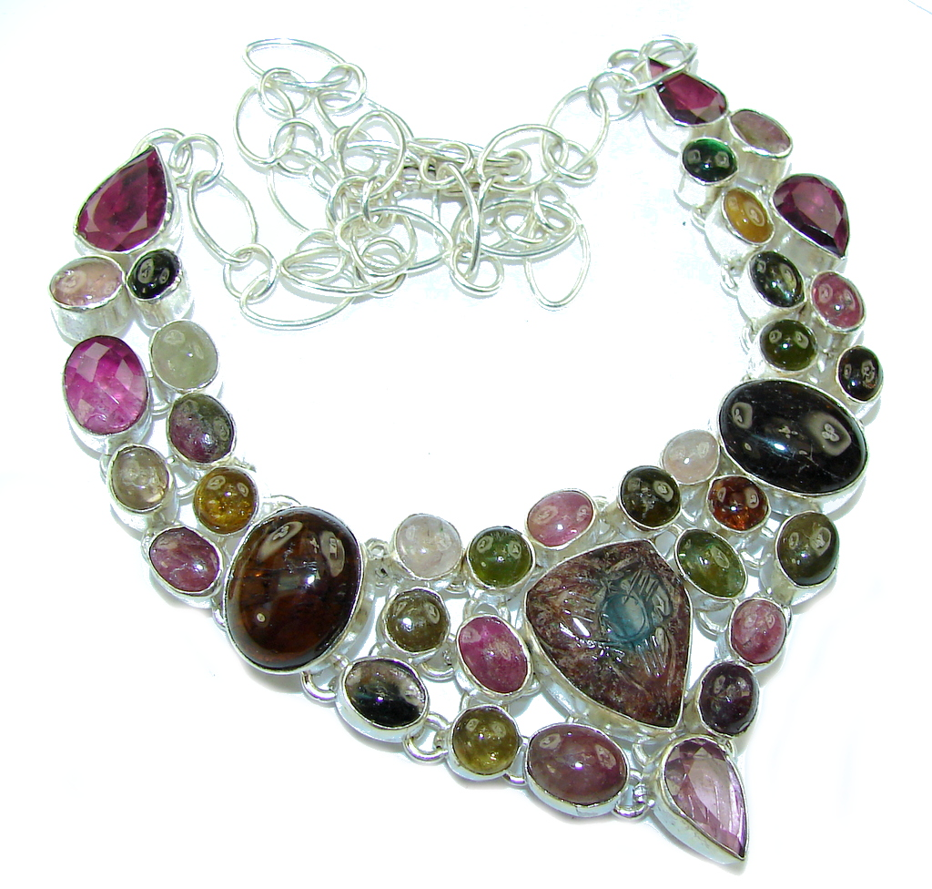 Maya Dreams!! Multicolor Tourmaline Sterling Silver necklace