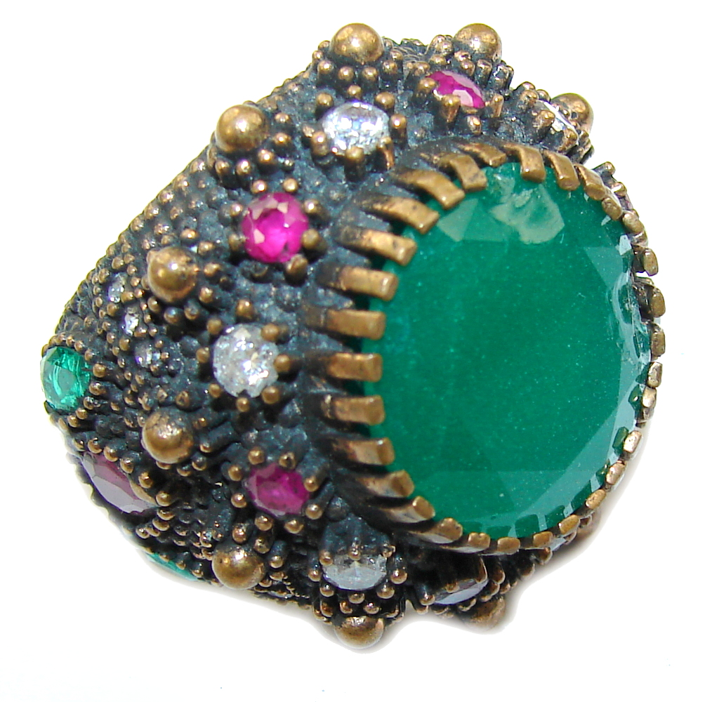 Victorian Style! Emerald & Ruby & White Topaz Sterling Silver Ring s. 9