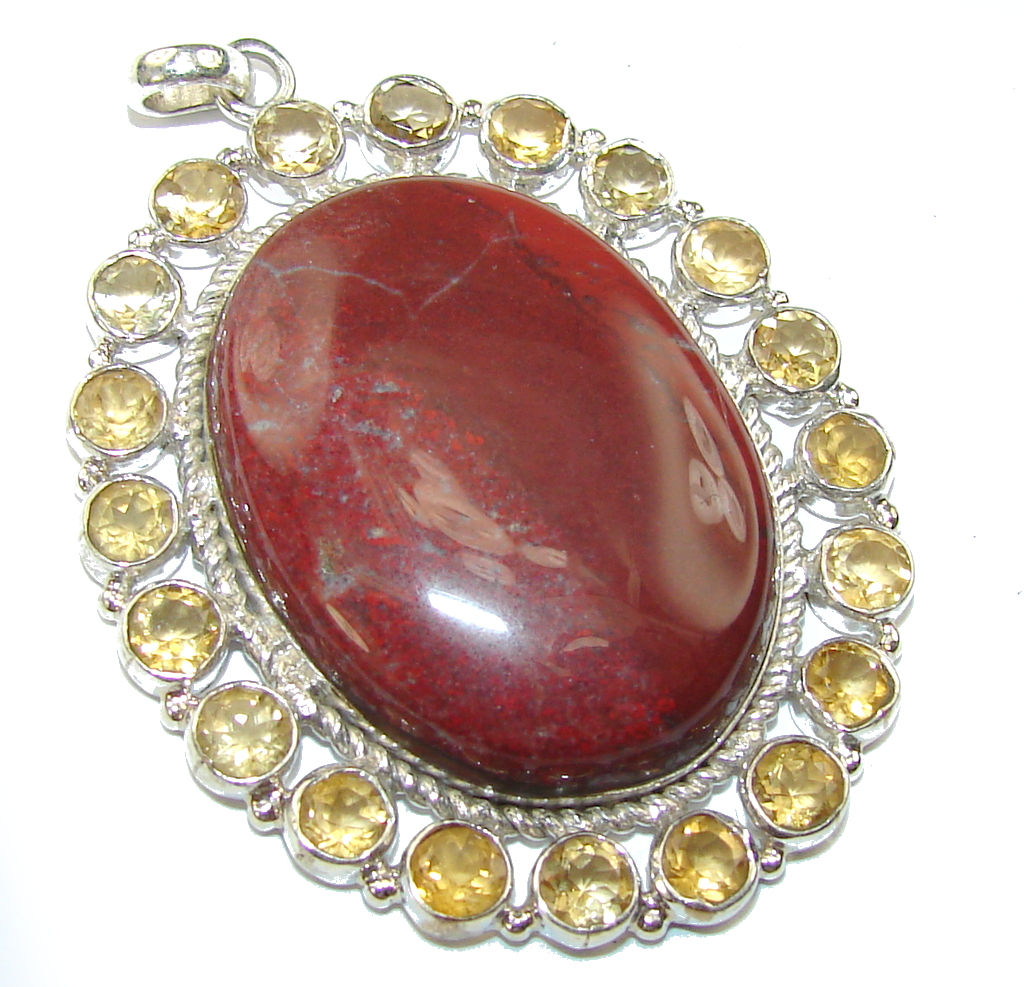 Amazing Red Jasper Sterling Silver Pendant