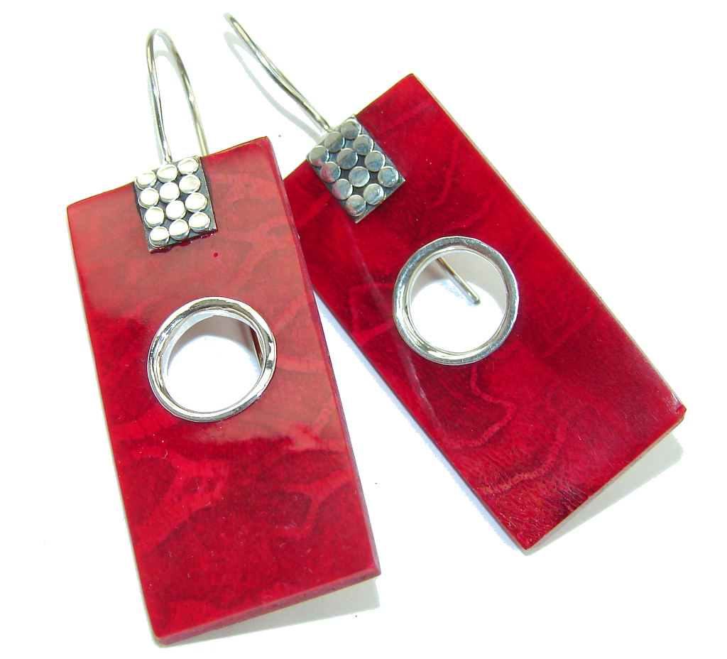Big! Fashion Red Fossilized Coral Sterling Silver earrings