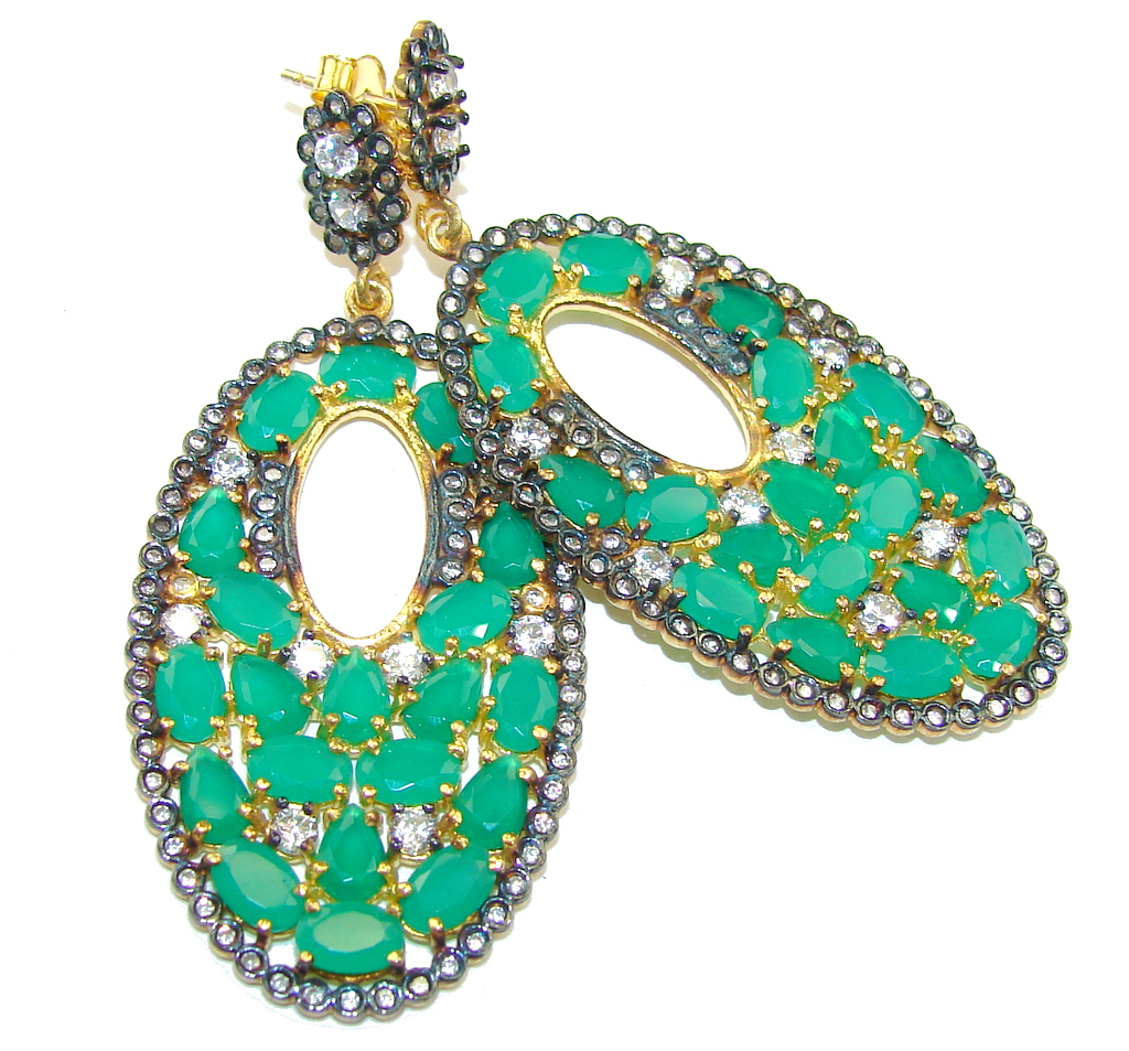 Victorian Style Emerald White Topaz, Gold PLated Sterling Silver earrings