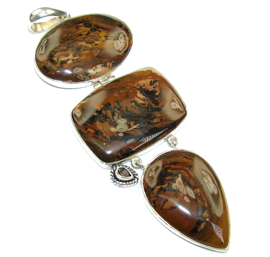 Beautiful AAA Picture Jasper Sterling Silver Pendant / Long