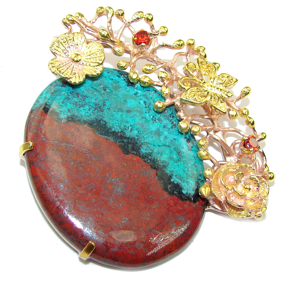 Gorgeous AAA Red Sonora Jasper, Rose & Gold Plated Sterling Silver Pendant