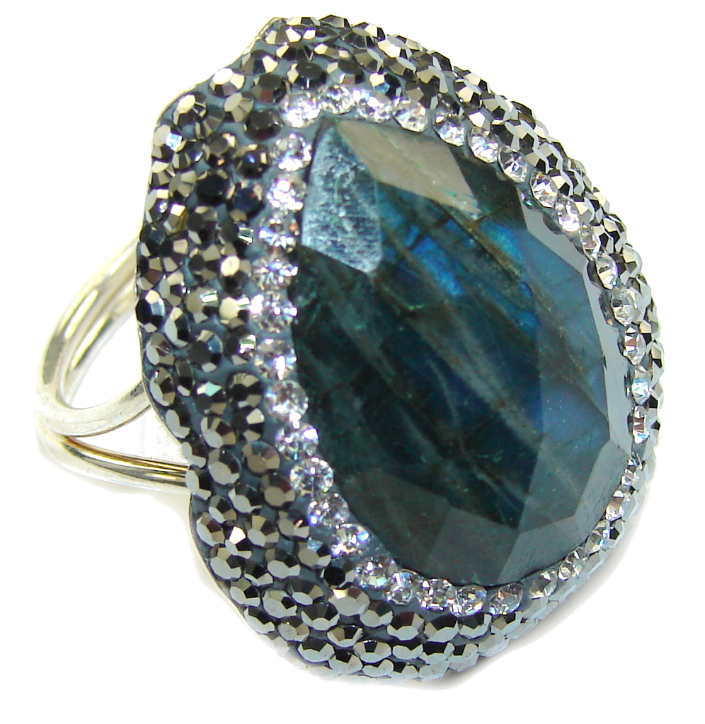 Victorian Style! Fire Labradorite Sterling Silver ring s. 9- adjustable