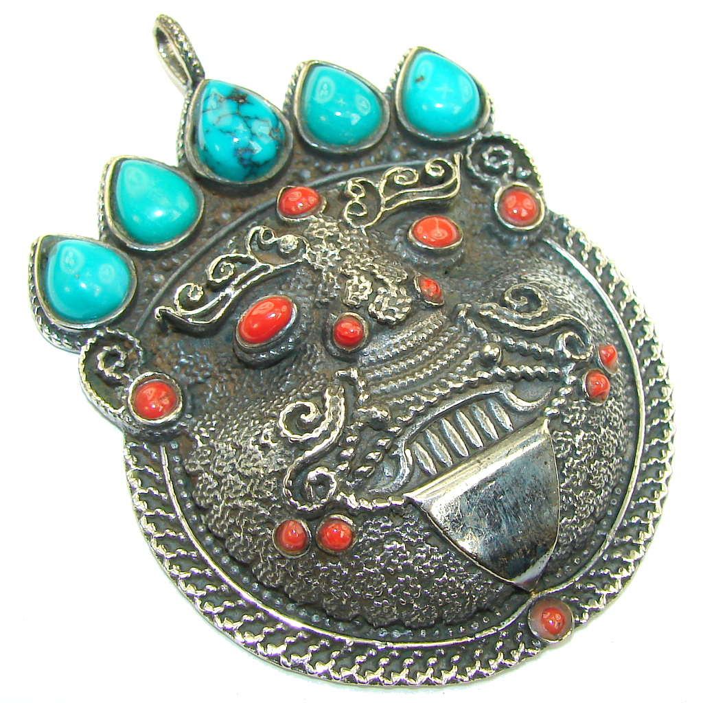 Large! Vintage Turquoise & Coral Sterling Silver Pendant