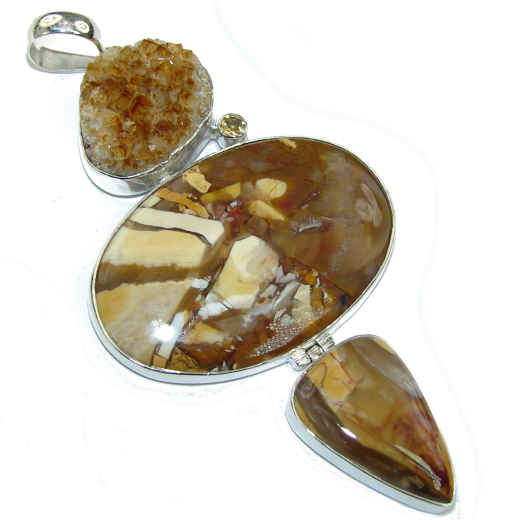 Big! Amazing AAA Beauty Burro Creek Jasper Sterling Silver Pendant