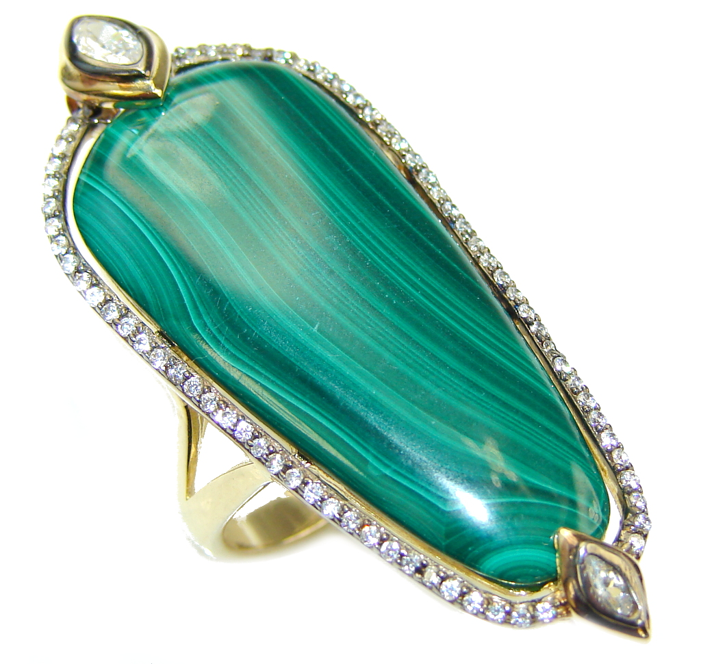 Beautiful AAA Green Malachite & White Topaz, Gold PLated Sterling Silver ring s. 6 1/2