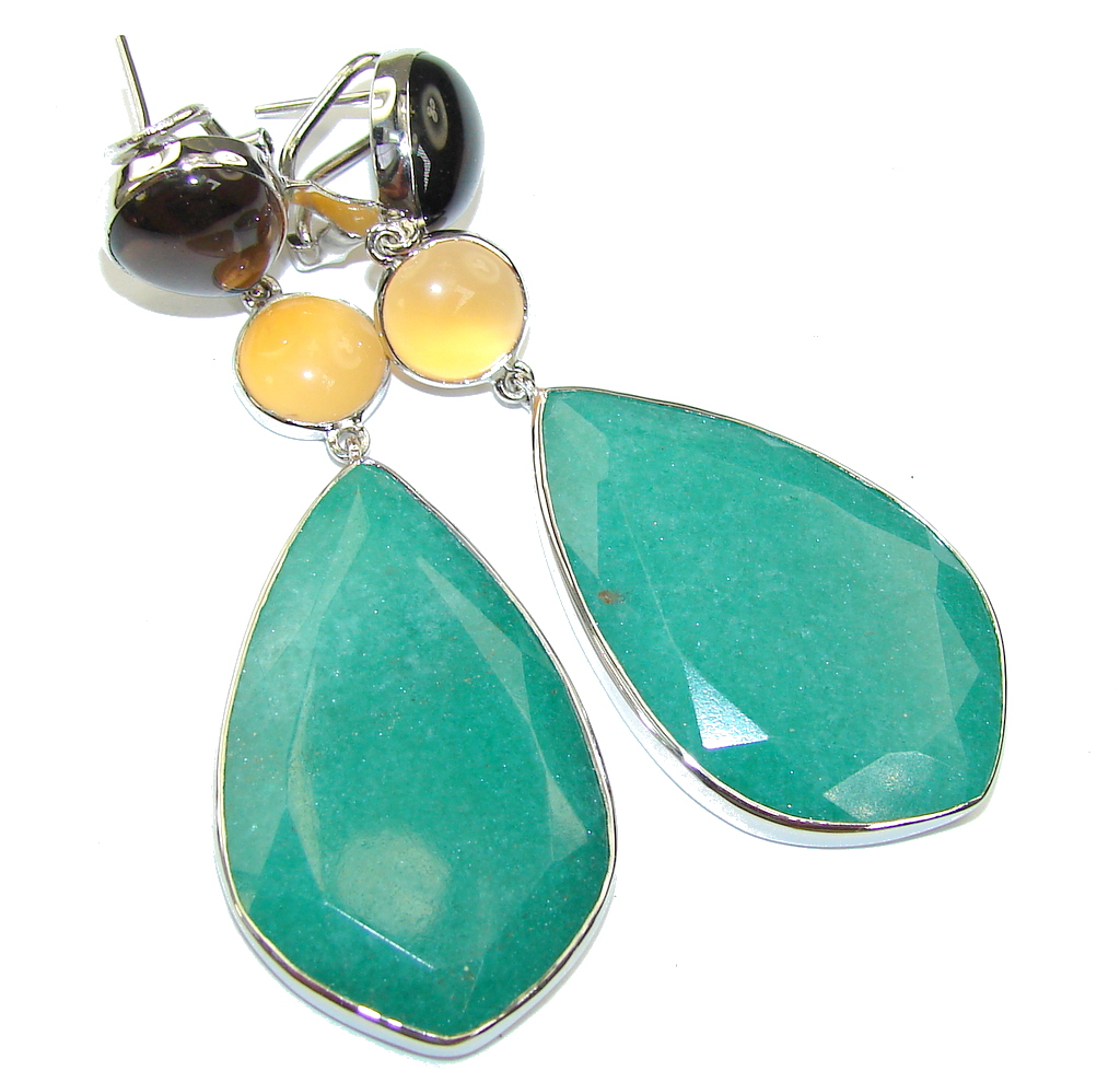 Big! Amazing Beauty! AAA Green Jade Sterling Silver Earrings / Long
