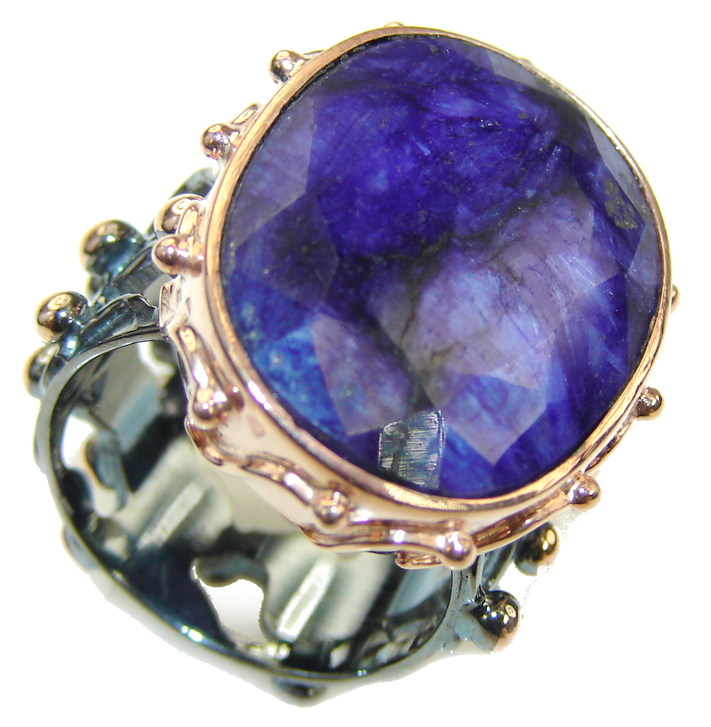 Natural! Blue Sapphire, Rose Gold Plated, Rhodium Plated Sterling Silver Ring s. 7