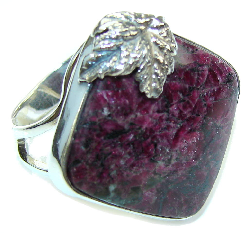 Amazing AAA Russian Eudialyte Sterling Silver Ring s. 9- adjustable