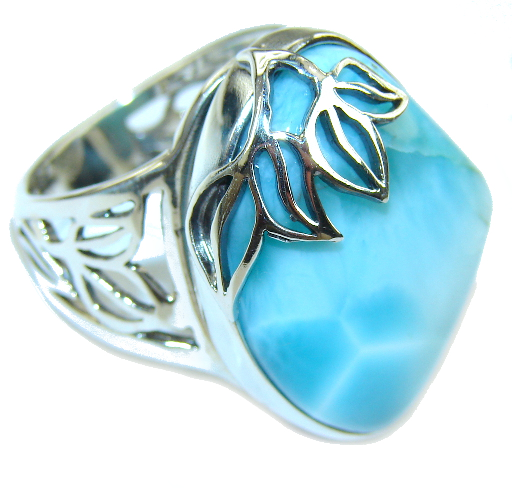 Amazing AAA Blue Larimar Sterling Silver Ring s. 8 - adjustable