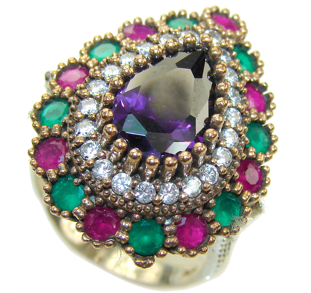 Victorian Style! Created Alexandrite Sterling Silver Ring s. 8