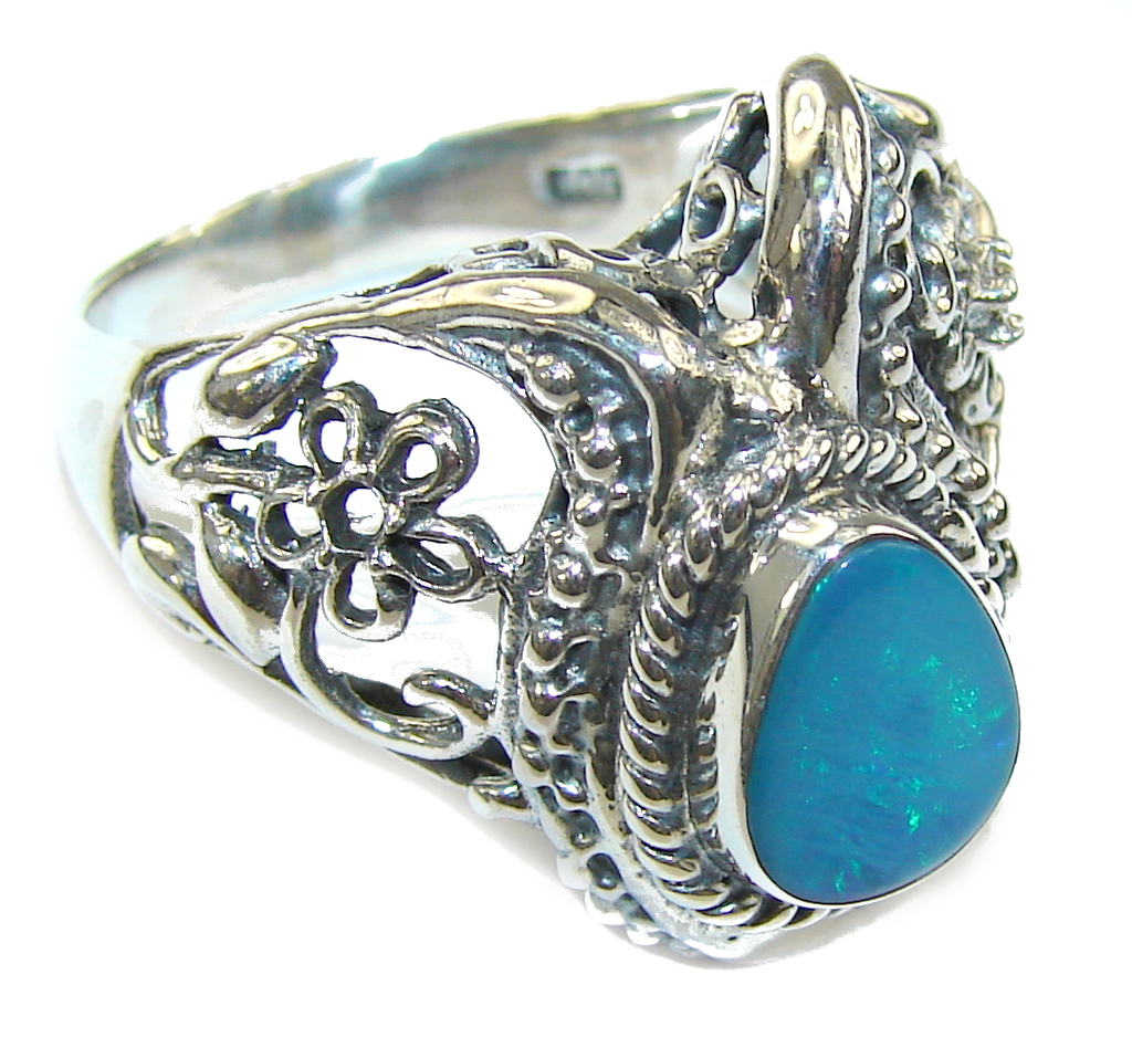Image of Delicate Japanese Blue Fire Opal Sterling Silver ring s. 8 1/2