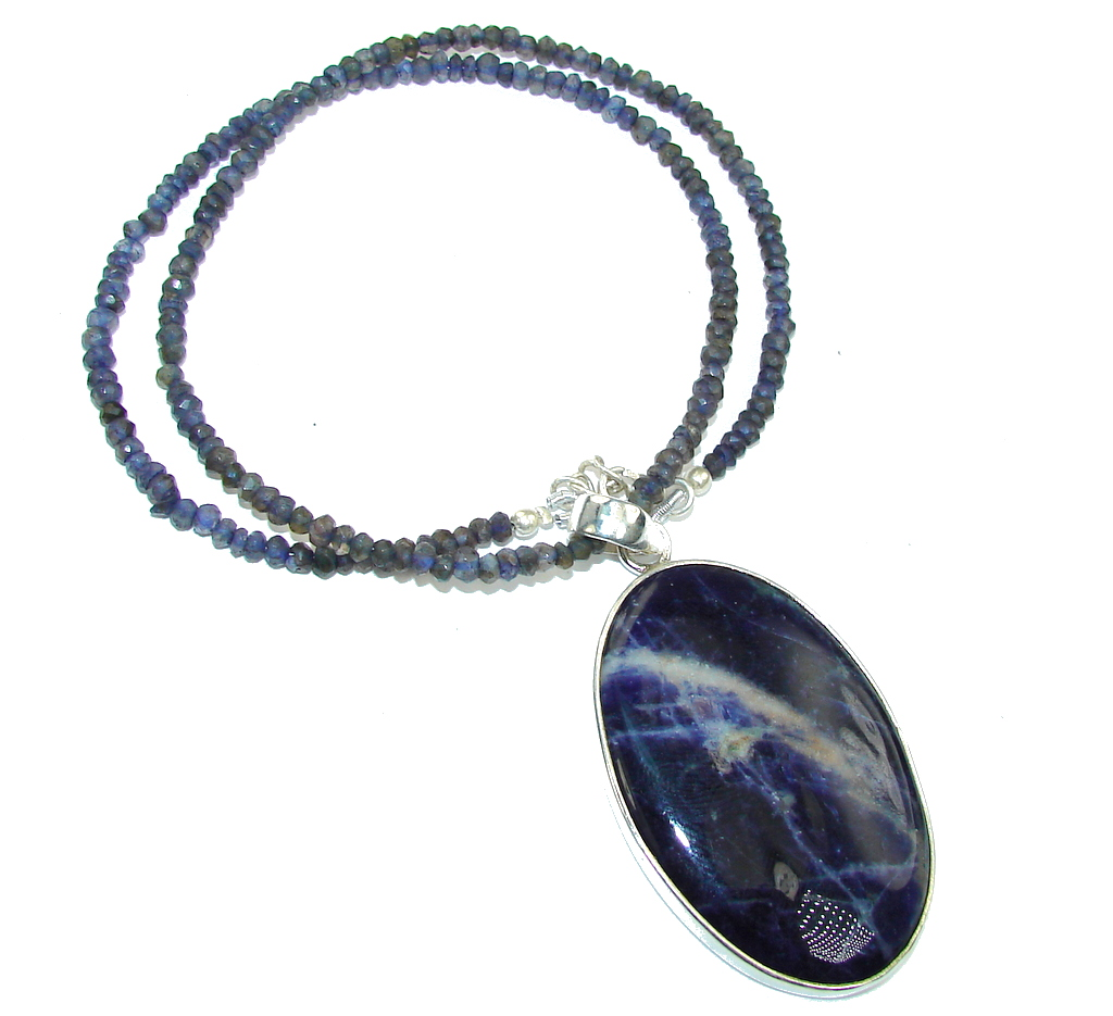 Stone of Venus!! Sodalite & Iolite Sterling Silver necklace