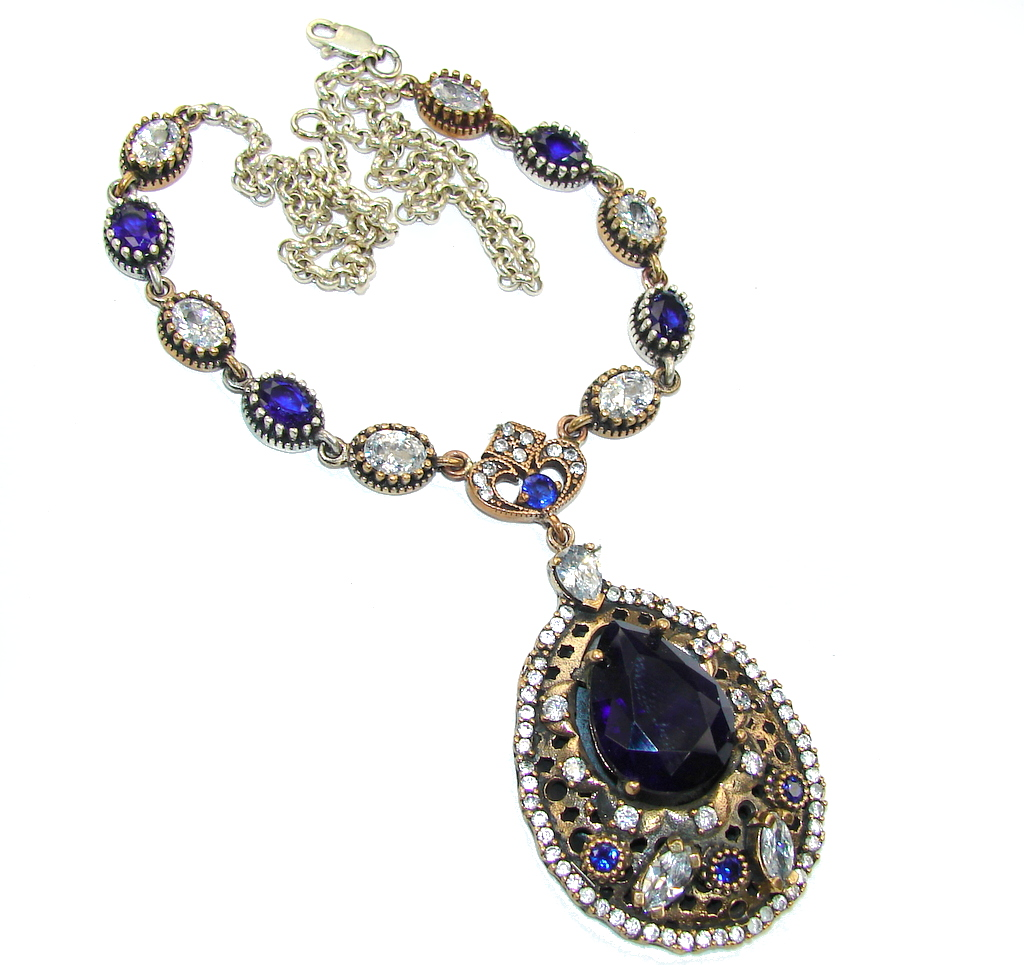 Victorian Style! Blue Sapphire & White Topaz Sterling Silver necklace