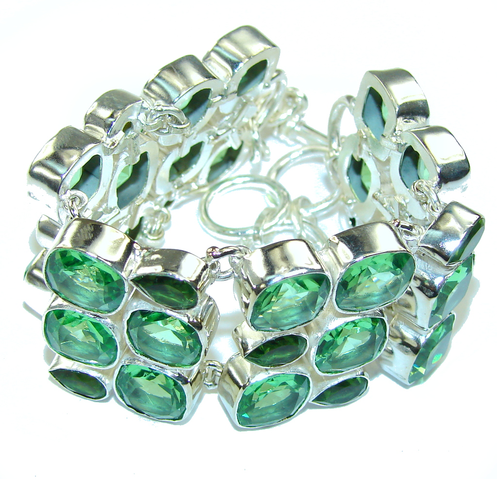 Fresh Island! Created Green Emerald Sterling Silver Bracelet