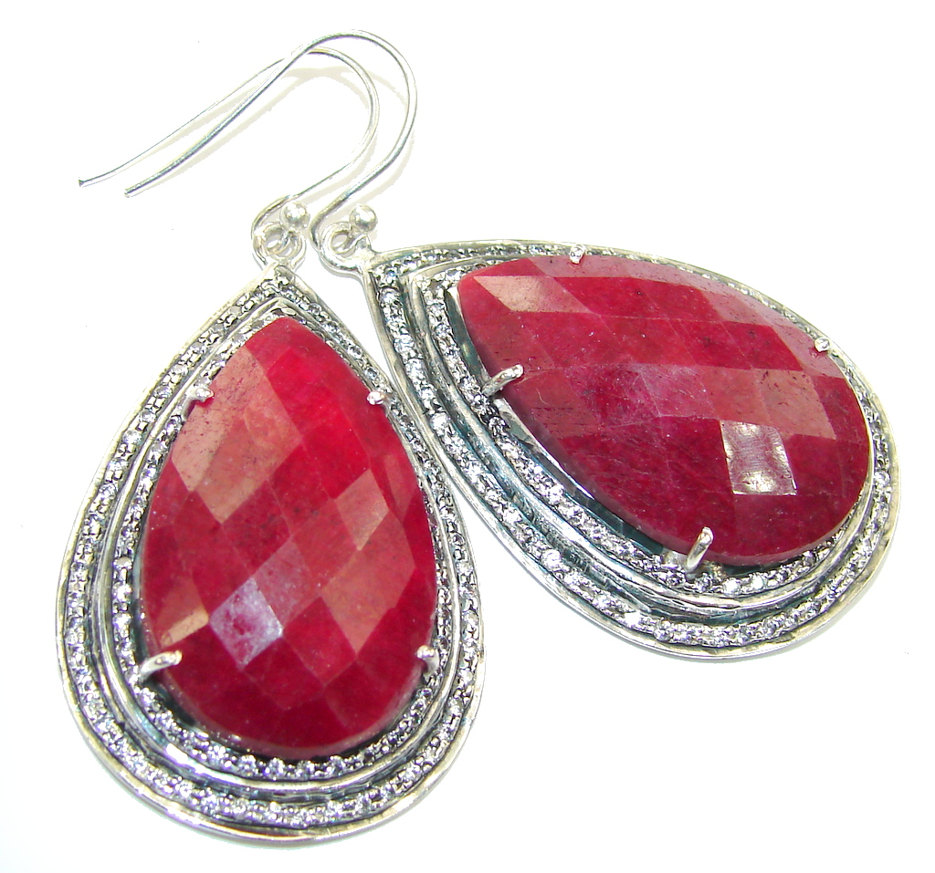 Large! Stunning Red Ruby & White Topaz Sterling Silver earrings