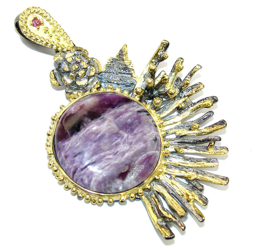 Big! Genuine AAA Purple Siberian Charoite, Gold Plated, Rhodium Plated Sterling Silver Pendant