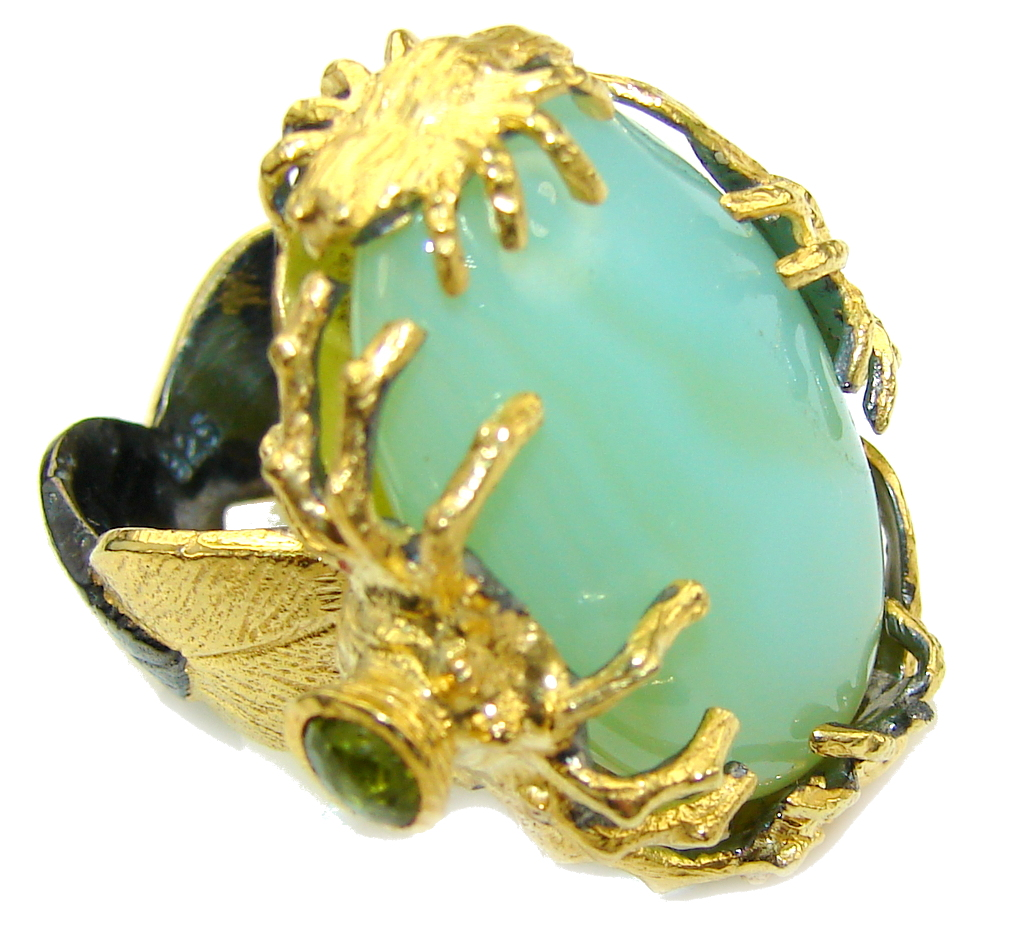 Genuine AAA Green CHRYSOPHRASE, Gold Plated, Rhodium Plated Sterling Silver Ring s. 6 1/2