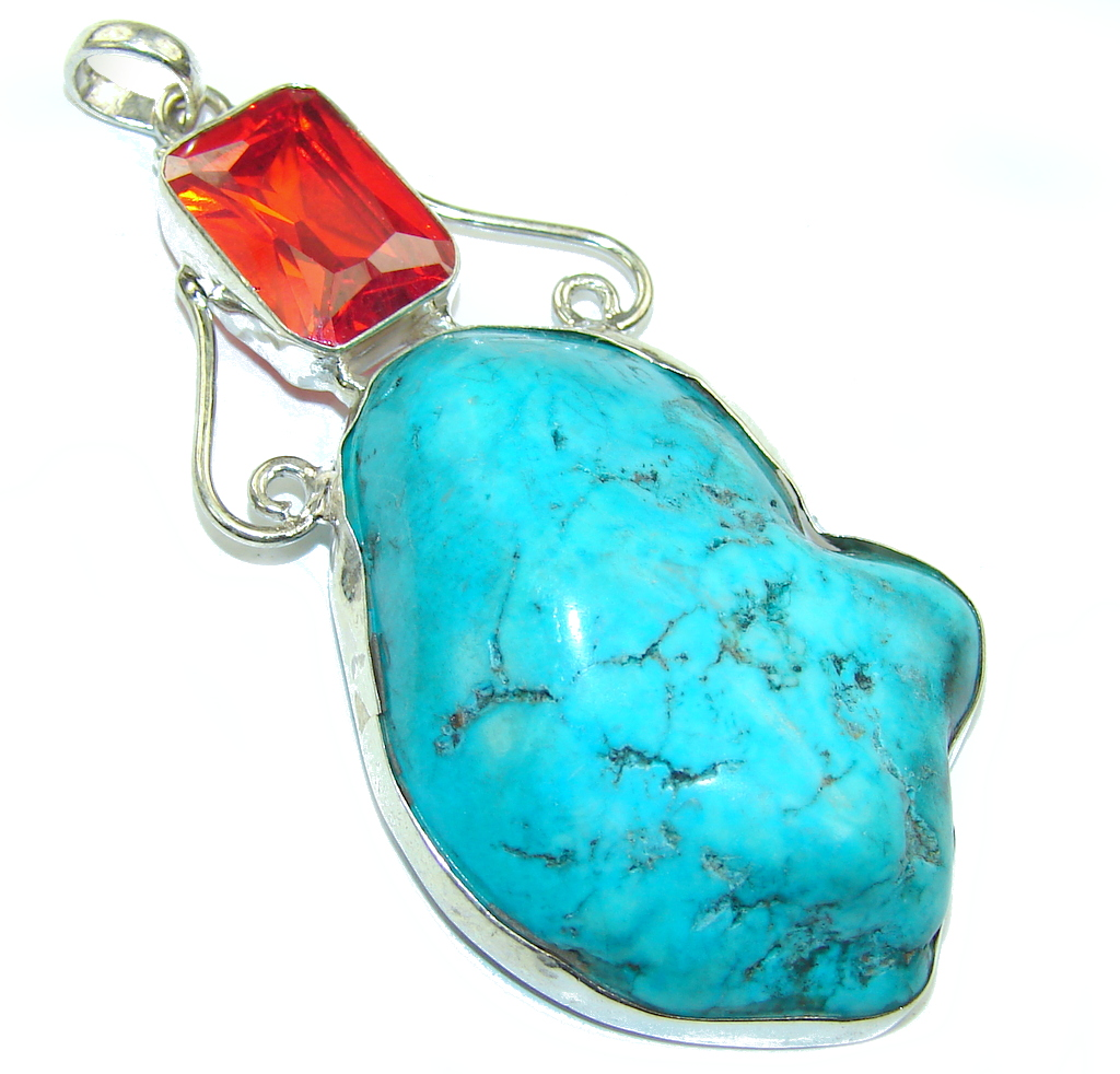 Classic Beauty! Blue Turquoise Sterling Silver Pendant