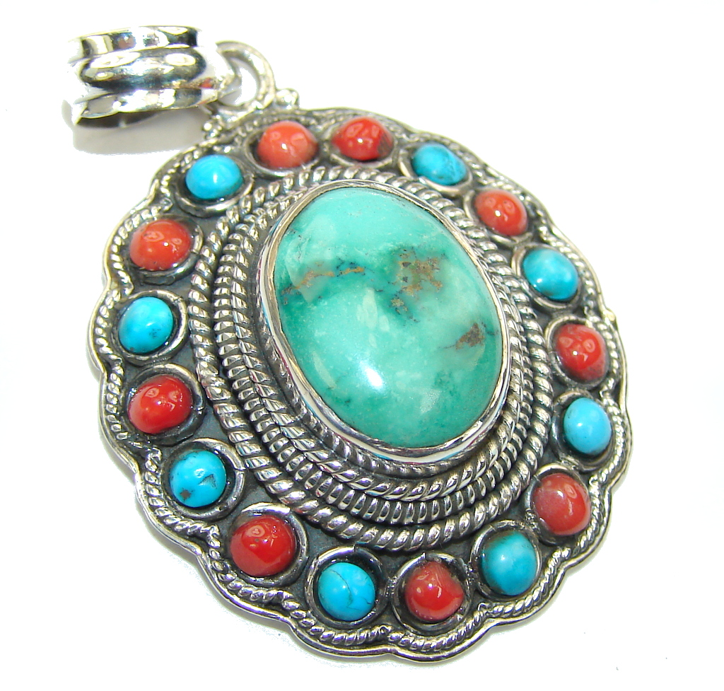 Stylish Blue Turquoise & Coral Sterling Silver Pendant