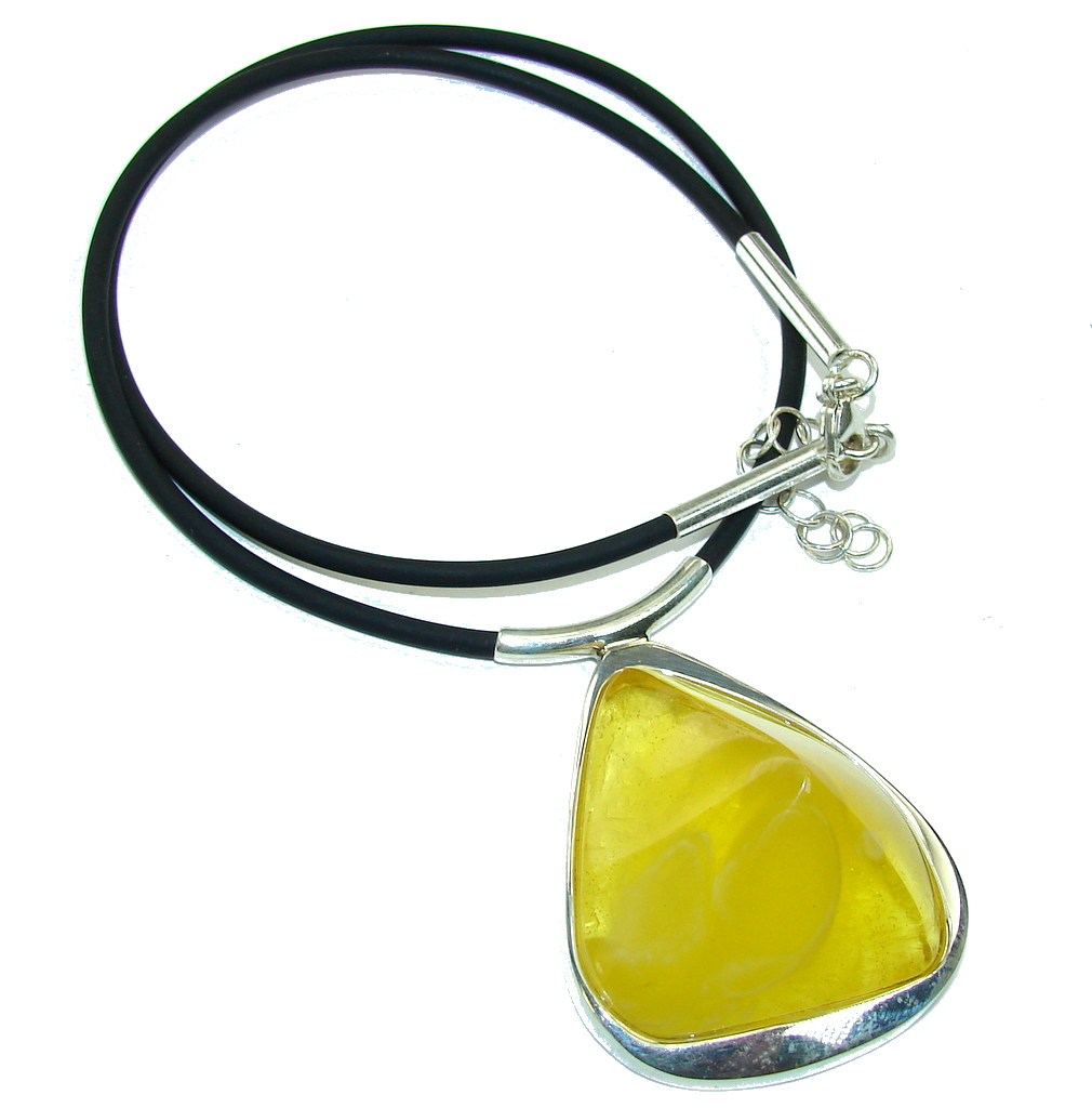 Natural AAA Yellow Baltic Polish Amber Sterling Silver necklace