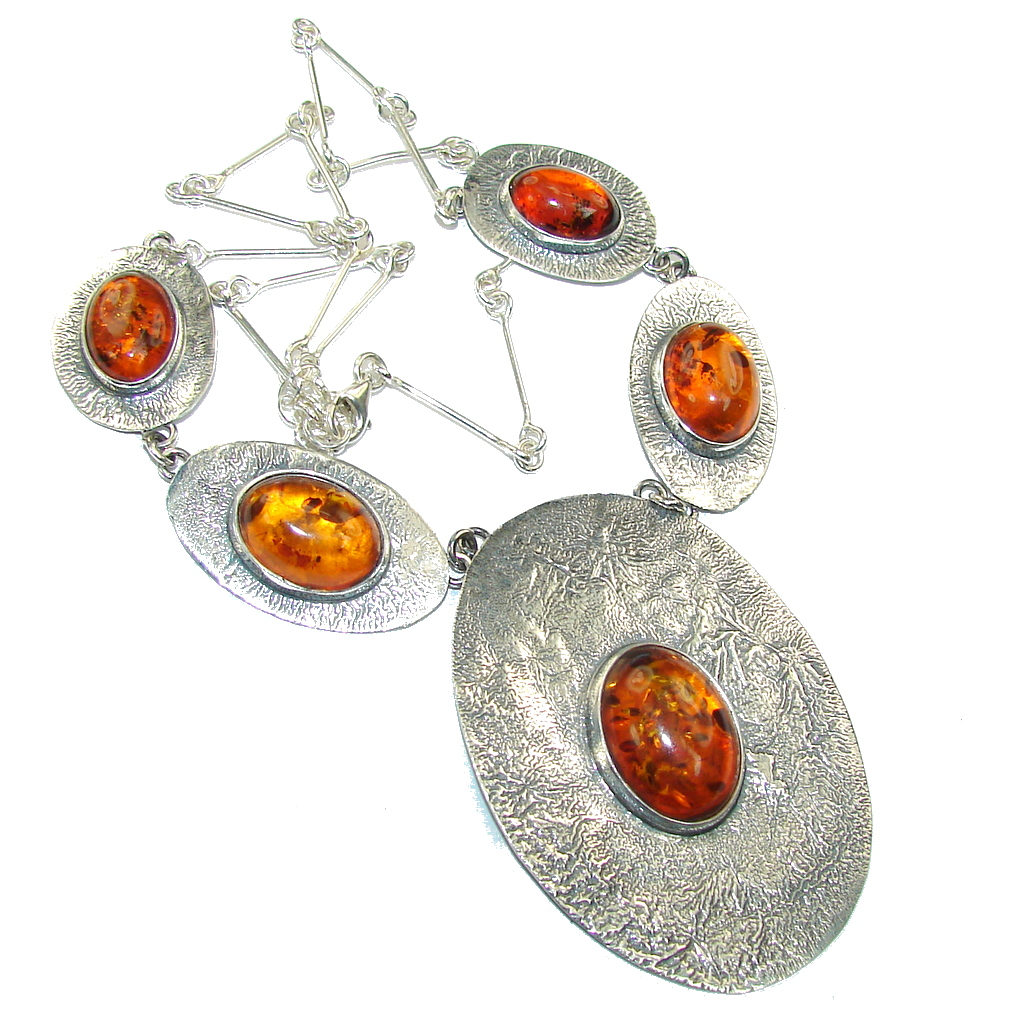 Chunky Back to Natura AAA Baltic Polish Amber Sterling Silver necklace