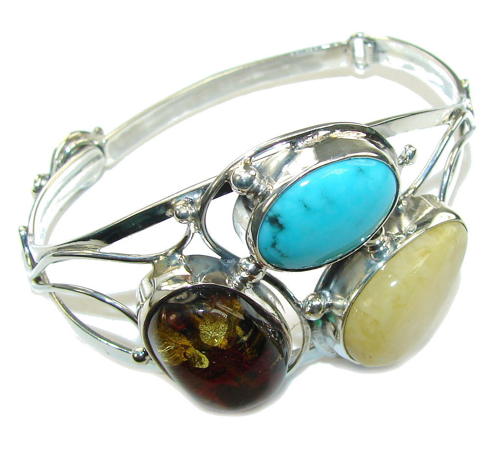 Stylish Beauty! AAA Baltic Polish Amber & Turquoise Sterling Silver Brac..