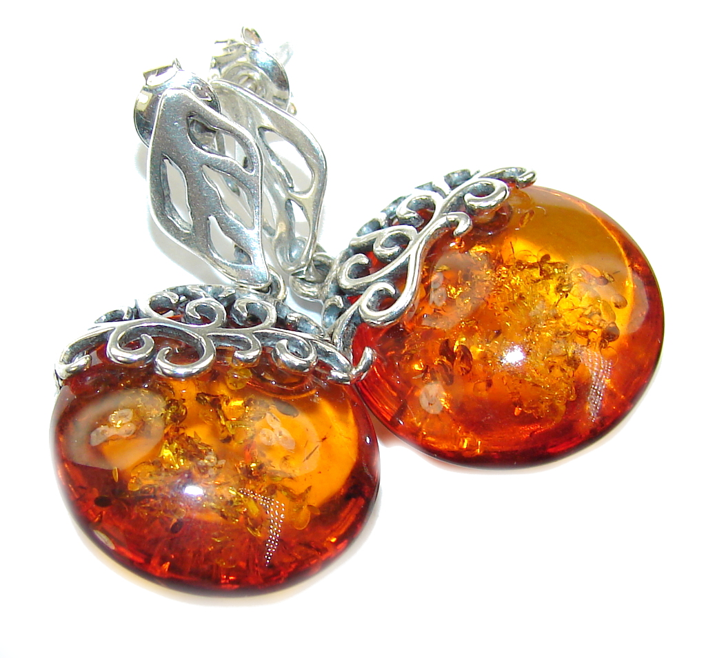 Amazing Baltic Polish Amber Sterling Silver Earrings