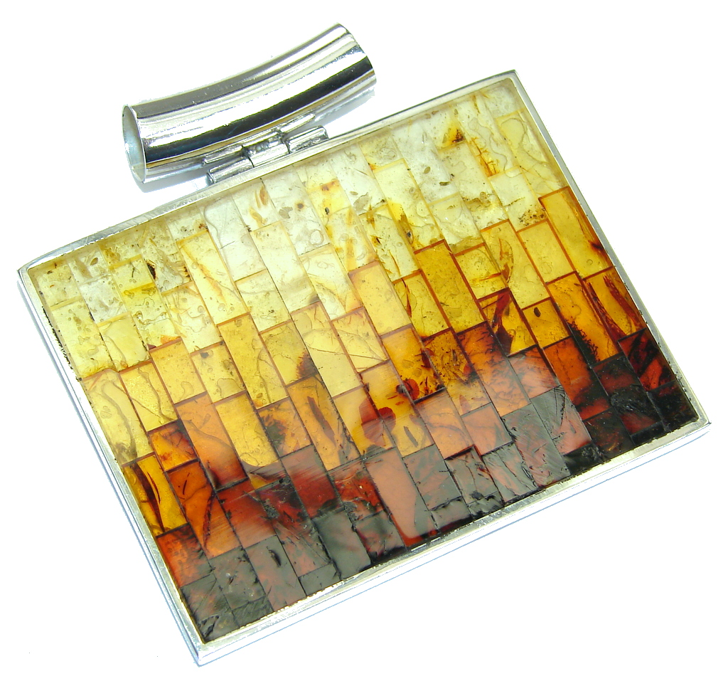 Big! Genuine Baltic Polish Amber Sterling Silver Pendant