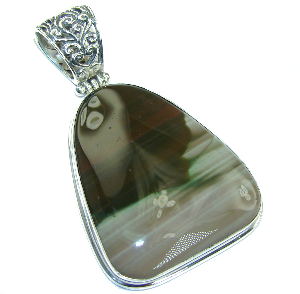 Beautiful AAA Brown Imperial Jasper Sterling Silver Pendant