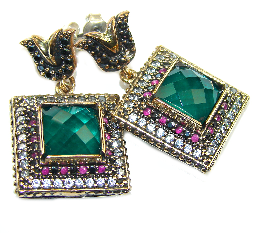 Victorian Style! Created Green Emerald Sterling Silver earrings