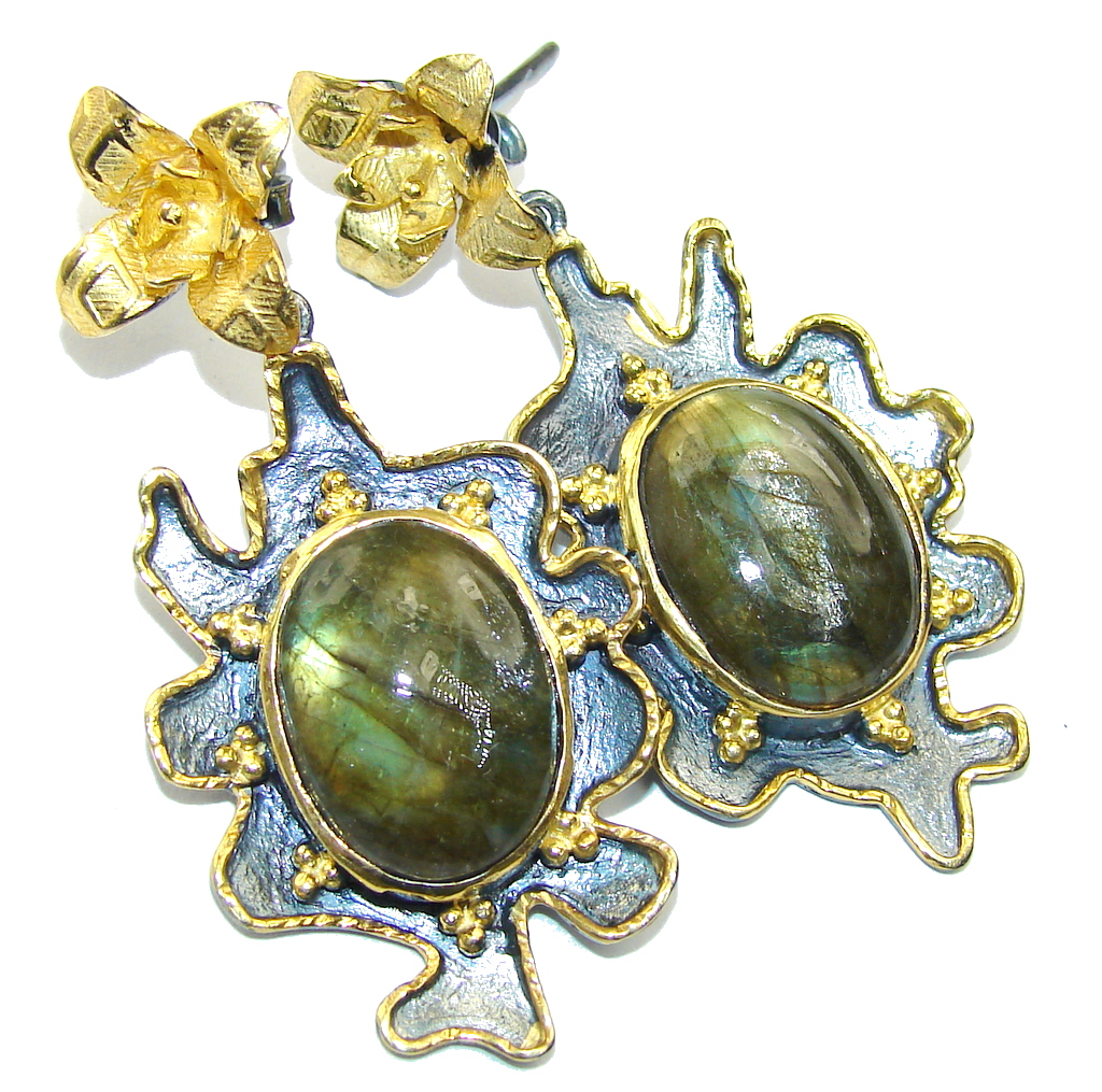 Big! Fashion Beauty AAA Labradorite, Gold Plated, Rhodium Plated Sterling Silver earrings