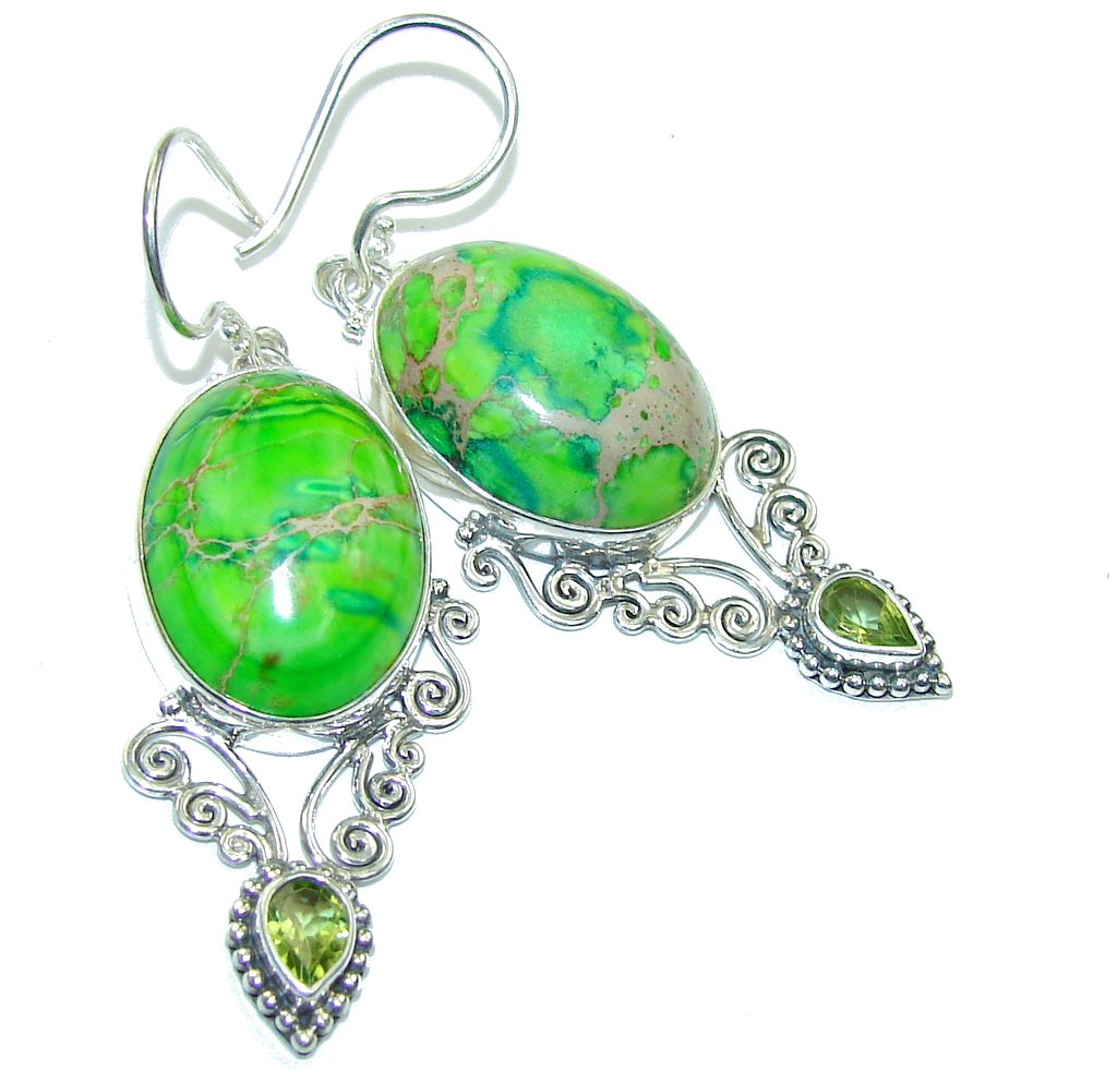Amazing Green Sea Sediment Jasper Sterling Silver earrings