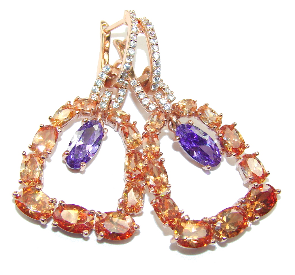 Stunning AAA Amethyst & Created Golden Sapphire, Rose Gold Plated Sterling Silver earrings
