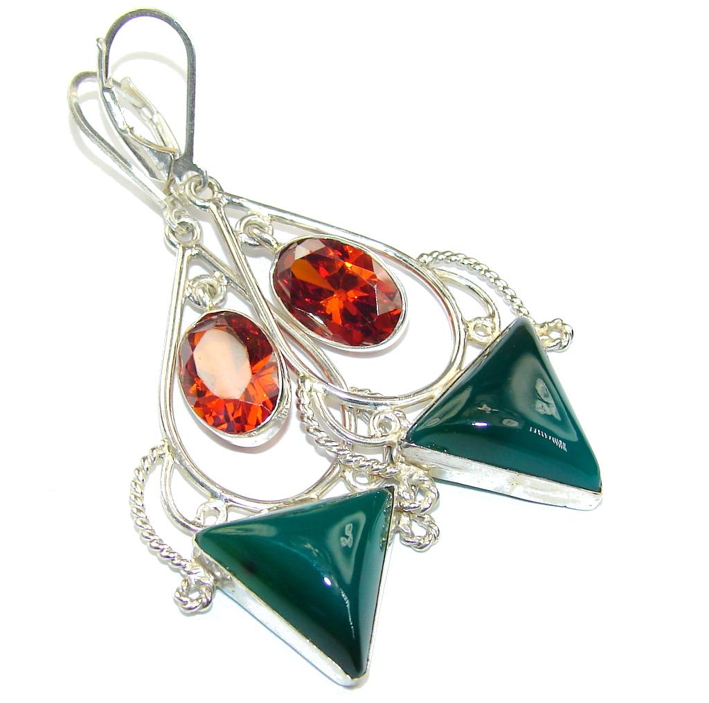 Image of Fantastic Green Agate & Honey Topaz Sterling Silver earrings