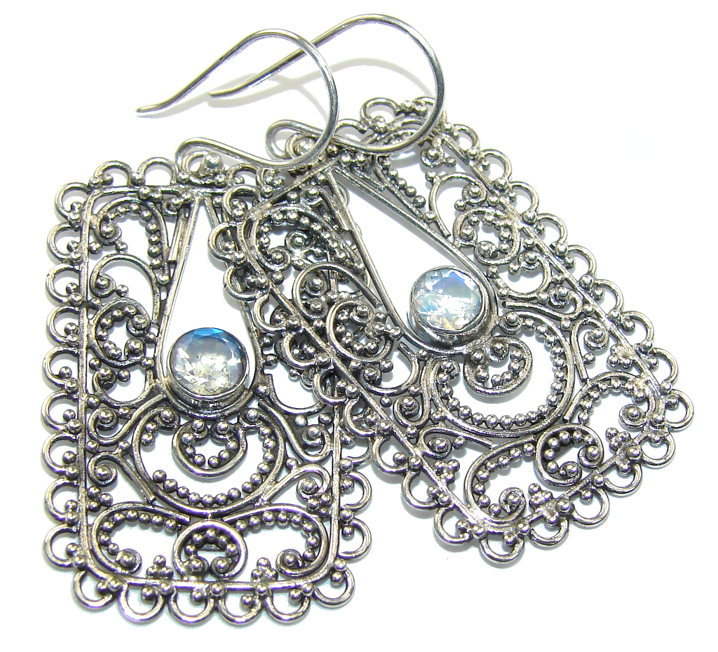 Bali Dream! White Moonstone Sterling Silver earrings