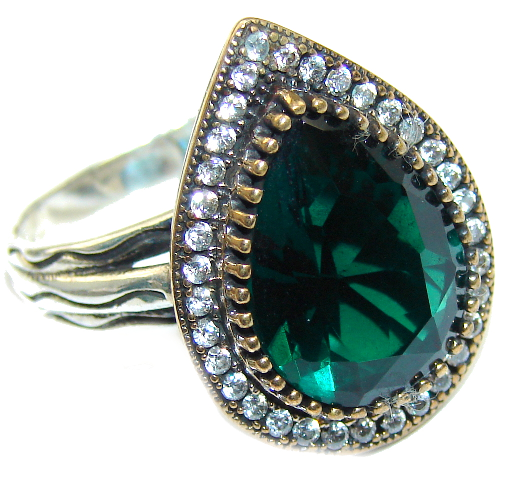 Victorian Style! Created Green Emerald Sterling Silver Ring s. 8 1/2