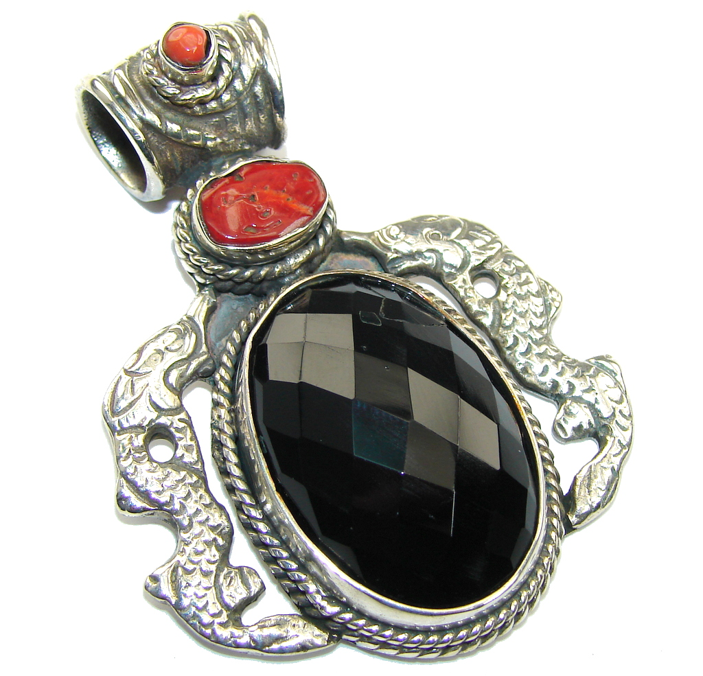 Vintage Style! Black Onyx & Coral Sterling Silver Pendant