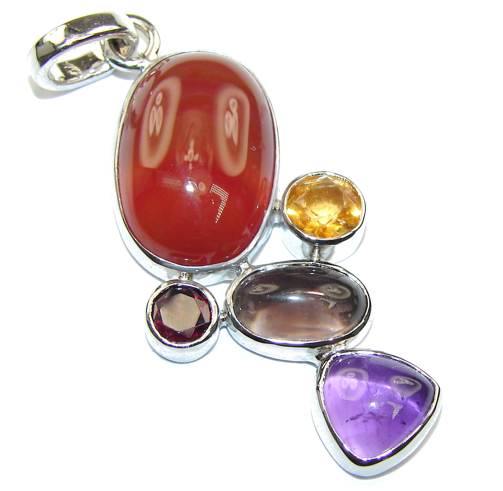 Excellent Orange Carnelian Sterling Silver Pendant