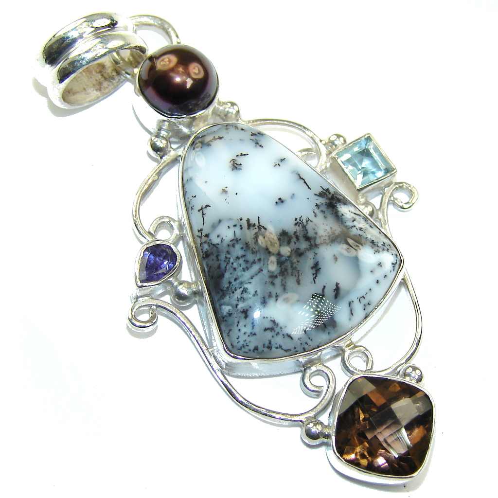 Amazing AAA Dendritic Agate Sterling Silver Pendant