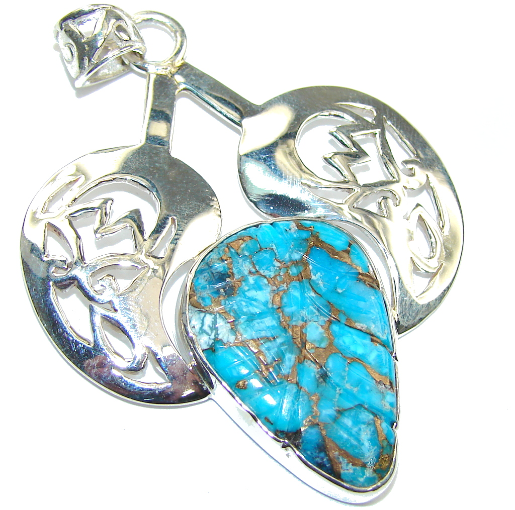 Blue Ocean Copper Turquoise Sterling Silver Pendant