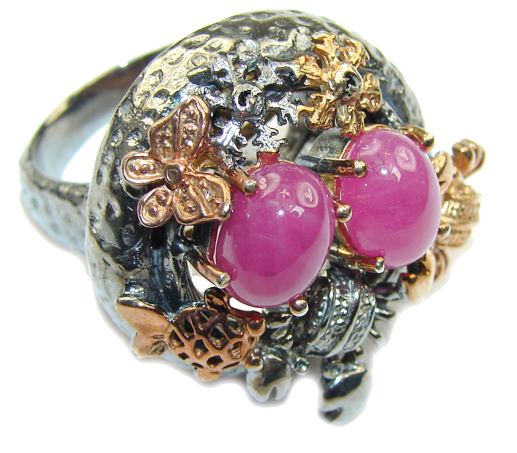 AAA Natural Pink Ruby, Rose Gold Plated, Rhodium Plated Sterling Silver Ring s. 7 1/4