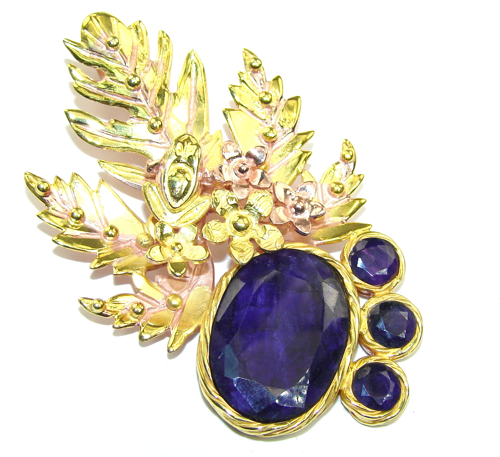 Big! AAA Natural Blue Sapphire, Rose & Gold Plated Sterling Silver Pendant