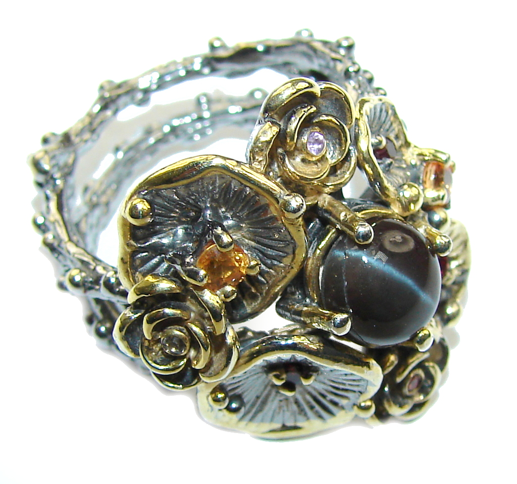 Stunning Black Sapphire, Gold Plated, Rhodium Plated Sterling Silver Ring s. 8 1/4