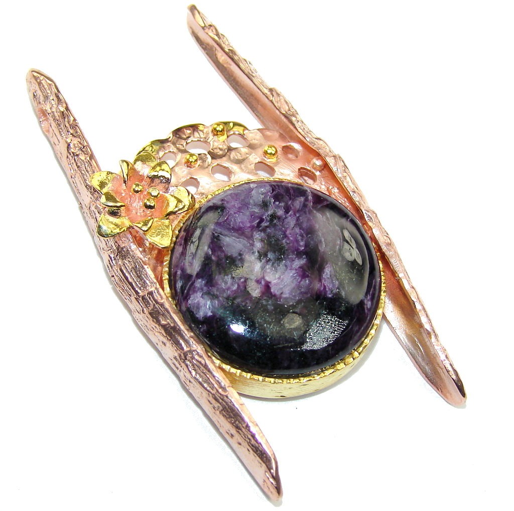 Gorgeous AAA Purple Siberian Charoite,Rose & Gold Plated Sterling Silver..
